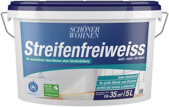 SCHÖNER WOHNEN-Kollektion Wand- und Deckenfarbe »Streifenfreiweiss«, weiß, matt, für innen, verschiedene Größen