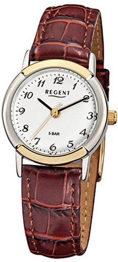 Regent Quarzuhr »URF576 Regent Damen-Armbanduhr braun Analog F-576«, (Analoguhr), Damen Armbanduhr rund, klein (ca. 25mm), Metall, Elegant