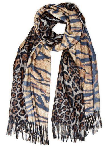 Caspar Modeschal »SC502 Damen XL Schal mit stylischem Leo Tiger Animal Print«