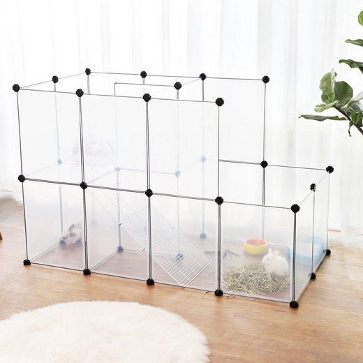 SONGMICS Kleintierkäfig »LPC03W LPC003G01«, Meerschweinchen-Käfig mit Rampe, DIY-Hamsterkäfig aus Kunststoff, transparent