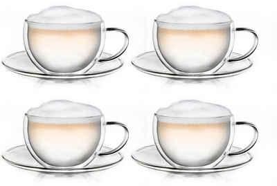 Creano Thermotasse, Borosilikatglas, doppelwandig mit Thermoeigenschaften, 250 ml, 4-teilig