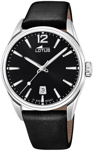 Lotus Multifunktionsuhr »UL18693/3 LOTUS Herren Uhr Elegant 18693/3 Leder«, (Analoguhr), Herren Armbanduhr rund, groß (ca. 42mm), Lederarmband schwarz