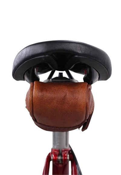 Gusti Leder Satteltasche »Udo B.«, Satteltasche Schlauchtasche mit wasserfestem Fahrradtasche für Werkzeug Ledertasche Vintage Schwarz Leder Damen Herren