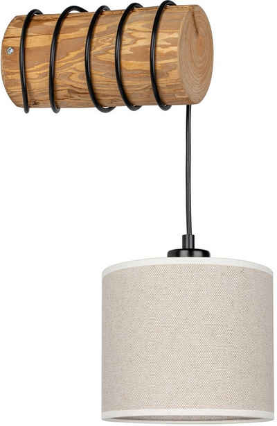 OTTO products Wandleuchte »Emmo«, Wandlampe mit hochwertigem Textilschirm Ø 17,5 cm aus Leinen & Baumwolle, massives Kiefernholz, Naturprodukt, Nachhaltig mit FSC®-Zertifikat, Made in Europe