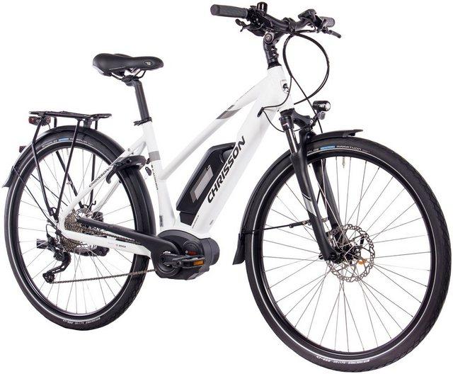 CHRISSON E-Bike Trekking Damen »E-ACTOURUS Lady«, 10 Gang, Shimano DEORE, Rahmenakku, 250 W*