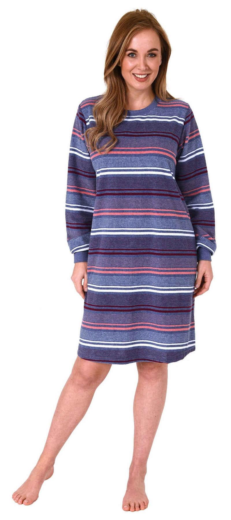 Normann Nachthemd »Damen Frottee Nachthemd mit Bündchen in Streifendesign - auch in Übergrössen - 212 213 235«