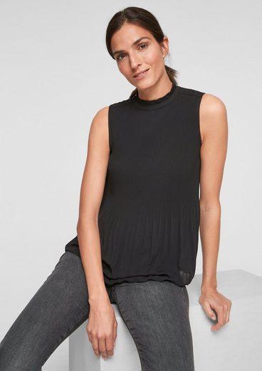 s.Oliver BLACK LABEL Shirttop »Chiffon-Bluse mit Plissees« (1-tlg) Rüschen