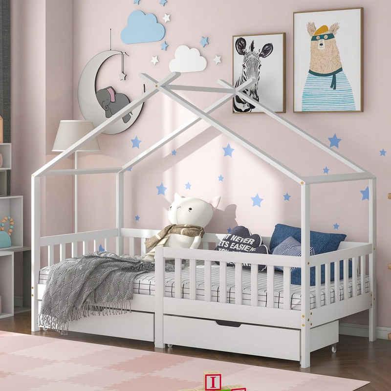 Merax Kinderbett »Moon Kingdom«, mit 2 Schubladen, Hausbett mit Rausfallschutz und Lattenrost, Einzelbett 90x200 cm für Kinder und Jügendliche