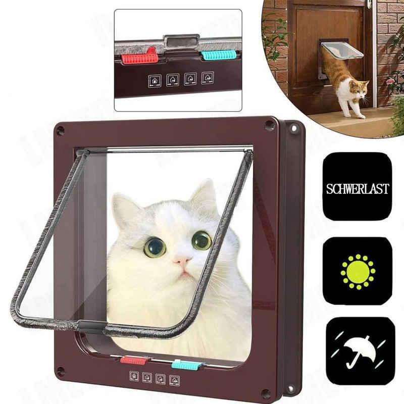 Favson Katzenklappe »Katzenklappe Hundeklappe 4 Wege Magnet-Verschluss für Katzen, Installieren Leicht mit Teleskoprahmen (Großer Kaffee)«