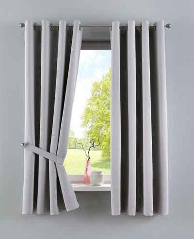 Vorhang, Gardinenbox, Ösen (2 Stück), Verdunkelungsvorhang Blickdicht »NewYork« Blackout Raffhalter verschiedene Höhen 201920600-2