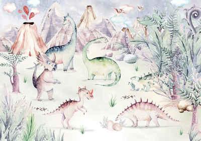 Komar Fototapete »Dino Playground«, glatt, bedruckt, Comic, Retro, mehrfarbig, BxH: 400x280 cm
