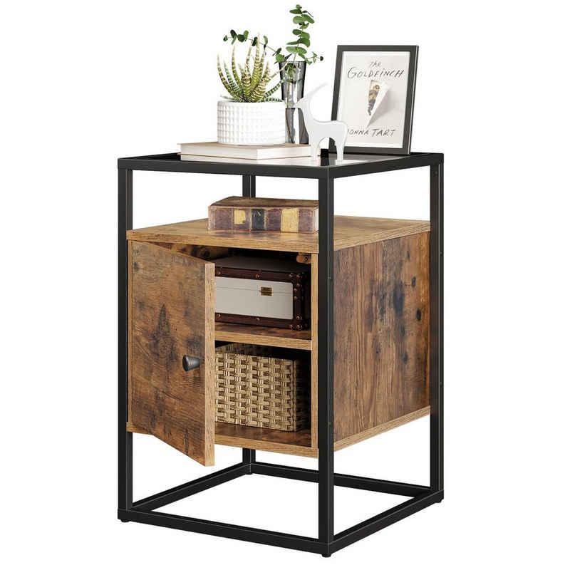 VASAGLE Nachttisch »LNT05BX«, Nachtschrank, Beistelltisch, Glastisch, vintage