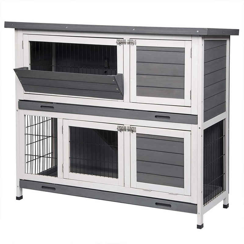 EUGAD Tierhaus »0006TL«, Hasenstall Kaninchenstall Hasenkäfig Kleintierstall Meerschweinchen Massivholz Grau-Weiß 120 x 50 x 100,5 cm