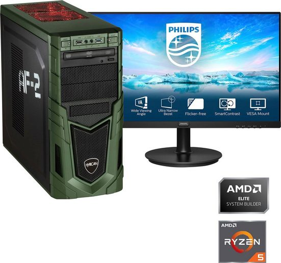 "Hyrican »Military SET02083 + PHILIPS 241V8LA/00 LCD-Monitor, Flat, 60,5 cm (23,8)« Gaming-PC-Komplettsystem (23,8"", AMD Ryzen 5 3400G, Radeon RX Vega 11, 16 GB RAM, 480 GB SSD)"