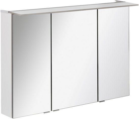 FACKELMANN Spiegelschrank »PE 100 - weiß« Breite 100 cm, Badmöbel mit 3 Türen und beleuchtetem Unterboden