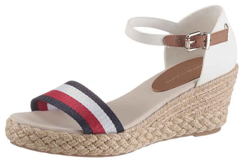 Tommy Hilfiger »SHIMMERY RIBBON MID WEDGE SANDAL« Sandalette mit gestreifter Textilbandage