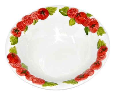 Lashuma Salatschüssel »Tomate«, Keramik, Runde Beilagenschale, Servierschüssel Ø 27 cm
