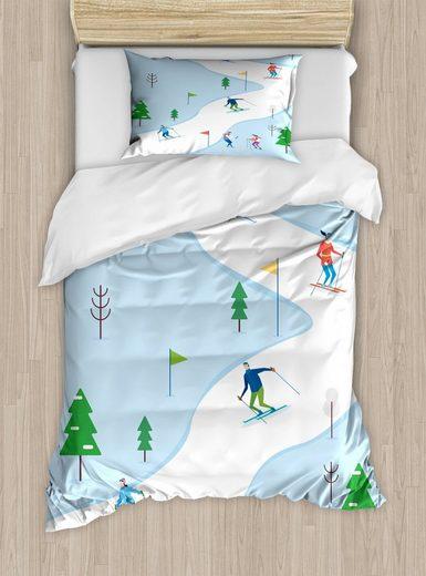 Bettwäsche »Top Qualität Weich und Warm 3 Teiligen Bettbezug mit 1 Kissenbezüge«, Abakuhaus, Ski-Muster Wintersportstrecke