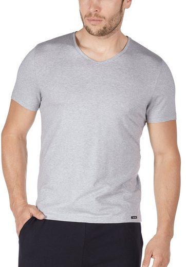 Skiny Kurzarm-V-Shirt in melierter Optik »Sloungewear«