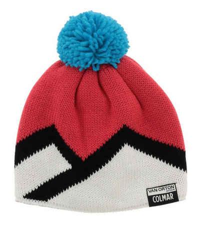 Colmar Strickmütze »COLMAR Winter-Mütze gestrickte Damen Bommel-Mütze mit Logo-Patch Strick-Mütze Bunt«