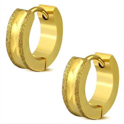 BUNGSA Creolen-Set »Creolen mit sand-gestrahlten Kanten Gold aus Edels« (inkl. Schmuckbeutel aus Organza), Ohrschmuck Ohrringe Frauen Geschenk Liebe