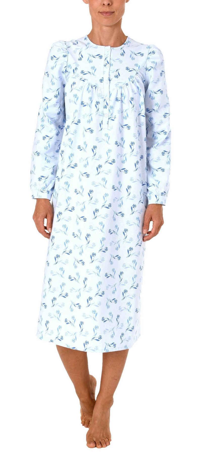 Normann Nachthemd »Damen Finette Nachthemd fraulich mit Knopfleiste am Hals – auch in Übergrössen – 61885«