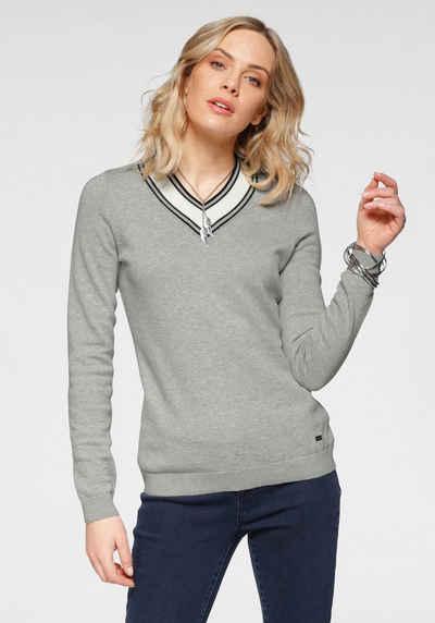 Arizona V-Ausschnitt-Pullover Mit Kontrast-Besatz - NEUE KOLLEKTION