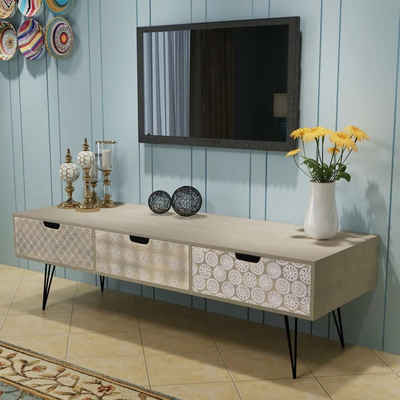 vidaXL TV-Bank »vidaXL TV-Schrank Lowboard Hifi Fernsehtisch Sideboard Retro Design braun/grau«