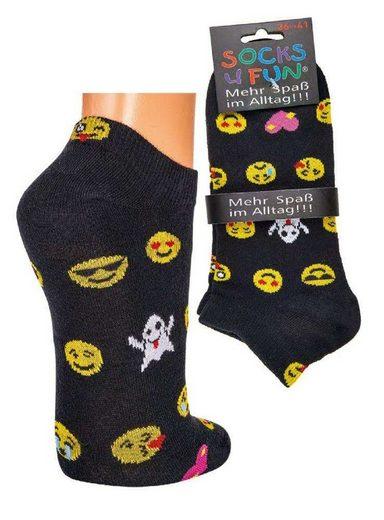 Socks 4 Fun Sneakersocken »Sneaker Socken Motiv Emoji« (2-Paar)