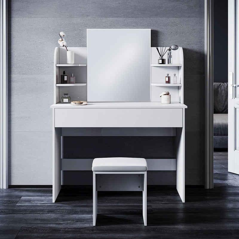 SONNI Schminktisch »Frisiertisch Kosmetiktisch mit Hocker und Spiegel«, mit Schublade, 1080x400x1400mm, mit/ohne Beleuchtung