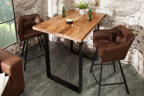 riess-ambiente Bartisch »IRON CRAFT 120cm natur«, Küche · Massivholz · eckig · Metall · Industrial Design