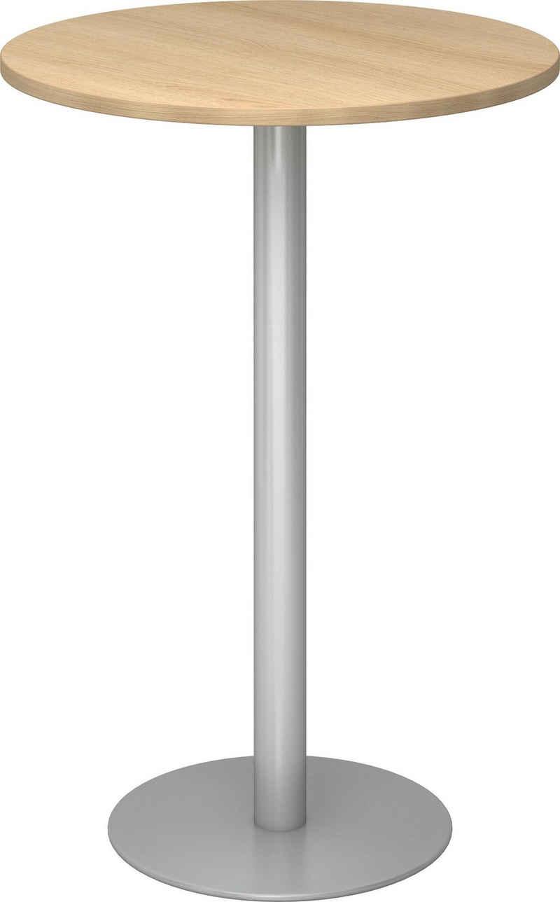 bümö Stehtisch »OM-STH08-S«, Pausentisch & Besprechungstisch - Platte: rund - Gestell: Silber, Dekor: Eiche