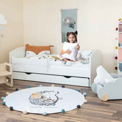 Alcube Kinderbett »Jugendbett 70x140 I 80x160 I 80x180«, OSKAR Funktionsbett 70x140 cm aus Holz Weiß mit Matratze Rausfallschutz Schublade und Lattenrost