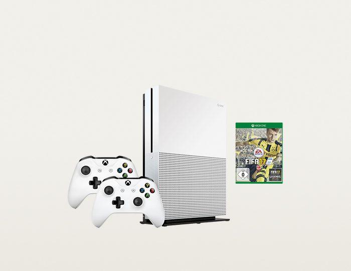 Xbox One S 500GB + FIFA 17 (DLC) + 2. Controller Konsolen Set