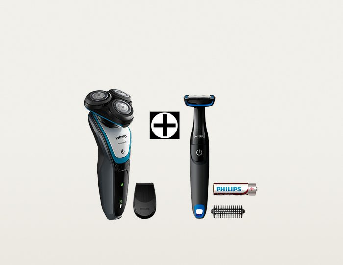 Philips Rasierer Series 5000 S5070/92, AquaTouch Wet & Dry, Akku, inklusive gratis Bodygroom