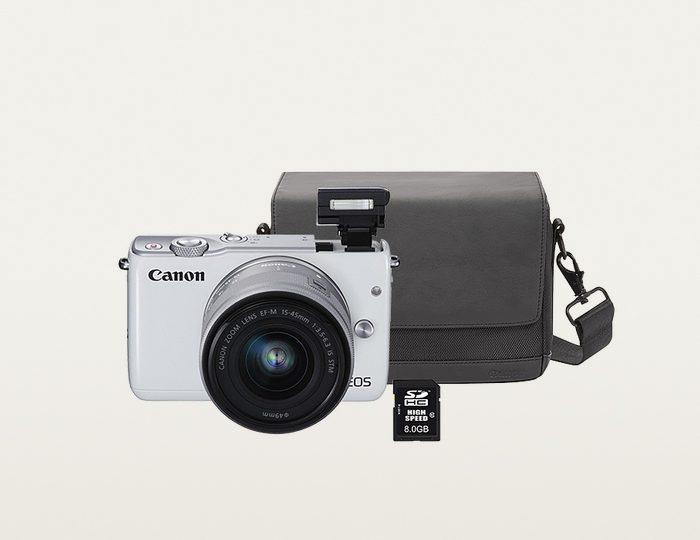 Canon EOS M10 Kit System Kamera, EF-M 15-45mm 1:3,5-6,3 IS STM Zoom, inkl. Tasche & 8GB SD-Karte