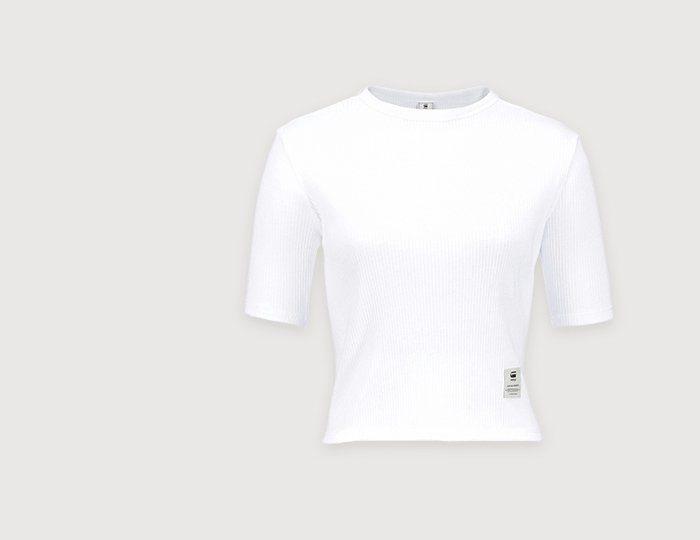 G-Star T-Shirt, Cropped Shirt mit Rippenstruktur