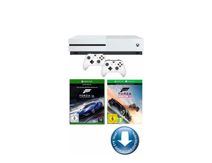 Xbox One S 500 GB + Forza Horizon 3 (DLC) + Forza Motorsport 6 + 2. Controller, 4K Ultra HD