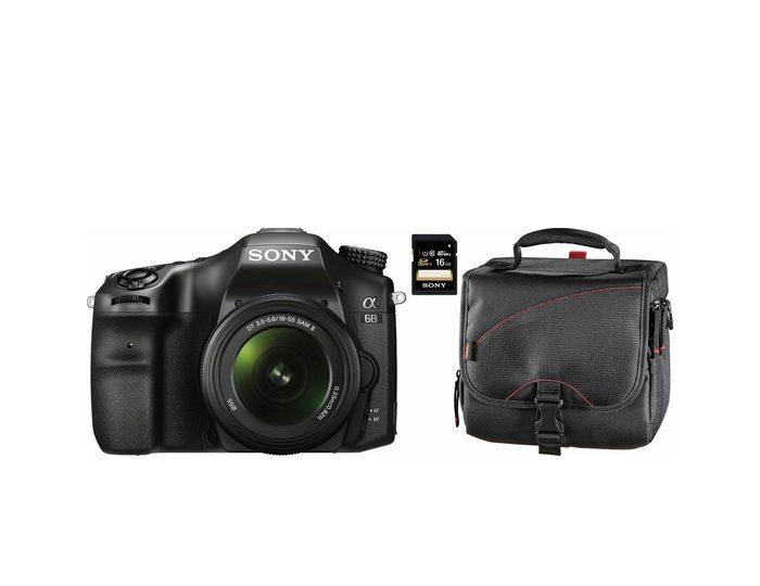 Sony Alpha ILCA68K Systemkamera + 16GB SD Karte + 10 € CEWE Fotogutschein + Hama-Tasche Astana 130