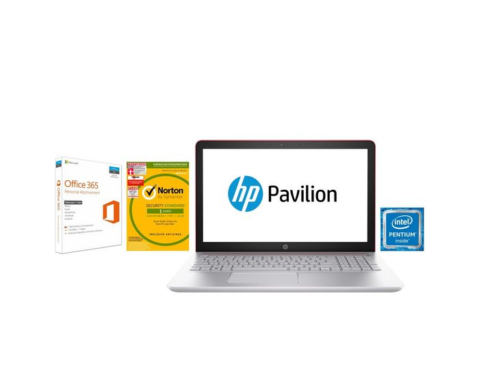 HP Pavilion 15-cc Notebook (39,6 cm/15,6 Zoll, Intel Pentium Gold, HD, 1000 GB HDD, 128 GB SSD, inkl. Norton Security, Office 365 Personal, 4 Jahre Garantie)