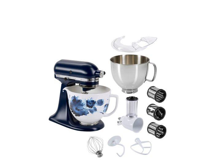 KitchenAid Küchenmaschine Artisan 5KSM156CWCEIB mit Gratis Gemüseschneider+3 Trommeln sowie 3L Edelstahlschüssel, 300 W, 4,8 l Schüssel