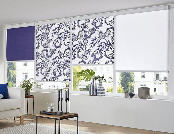 Seitenzugrollo »Blue Leaves Allover«, Guido Maria Kretschmer Home&Living, Lichtschutz, ohne Bohren, im Fixmaß