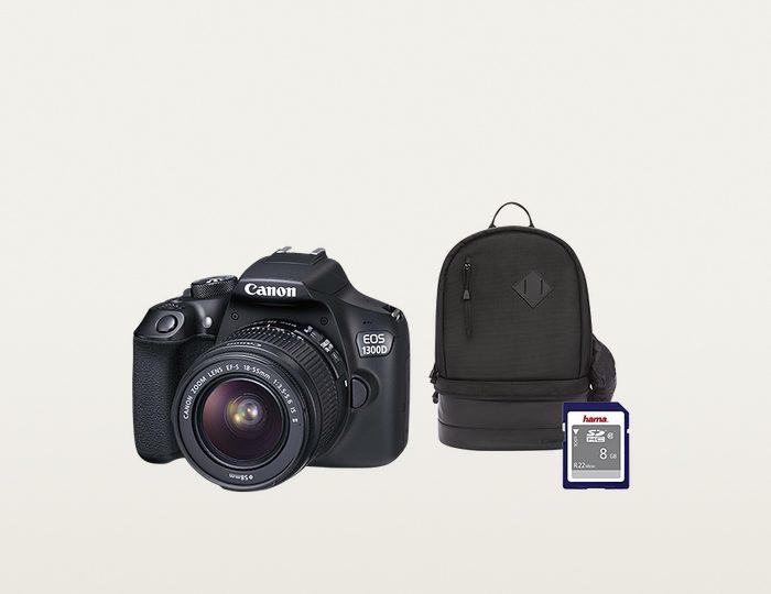 EOS 1300D 18-55 IS schwarz + Rucksack CB-BP100 + 8 GB SD-Karte Class 10