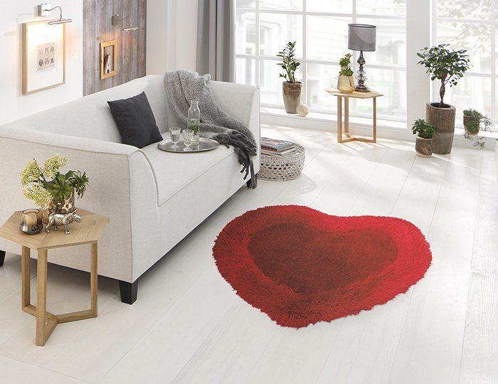 Hochflor-Teppich »Herz«, Bruno Banani, herzförmig, Höhe 60 mm