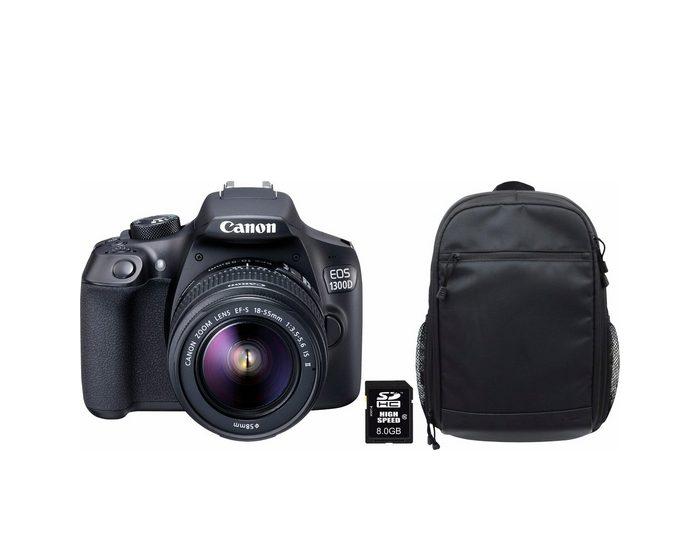 EOS 1300D 18-55 IS Spiegelreflex Kamera + Rucksack + 8 GB SD +10€ Fotogutschein