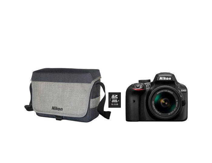Nikon »D3400 Kit AF-P 18-55« Spiegelreflexkamera (AF-P DX NIKKOR 18-55mm f/3.5-5.6G VR, 24,2 MP, Bluetooth, & Fotogutschein)