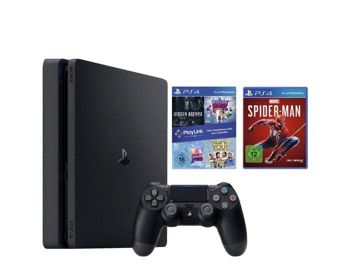 PlayStation 4 Slim (PS4 Slim) 1TB (Bundle, inkl. Spiderman + 4er Playlink)