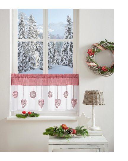 Scheibengardine »Dara«, Home affaire, Stangendurchzug (1 Stück), Weihnachtsgardinen
