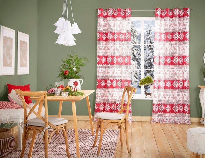 Gardine »Flocke«, my home, Ösen (1 Stück), Weihnachtsdeko