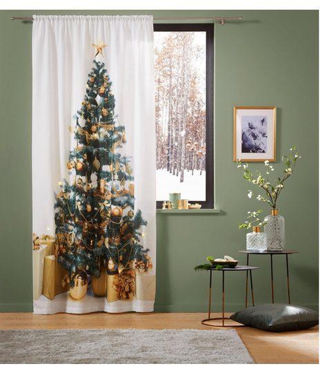Vorhang »LED-Tannenbaum«, my home, Stangendurchzug (1 Stück), LED-Lichter